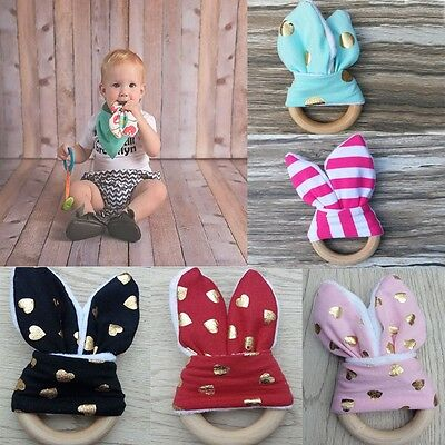 Toddler Infant Chewie Teether Baby Teething Ring Bunny Ear Sensory Toy Wooden