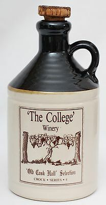 Vintage Stoneware The College Winery Old Cask Hall Selection Bottle Jug Decanter