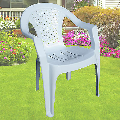 White Plastic Lawn Chairs Indoor & Outdoor Garden Patio Armchair Stacking New