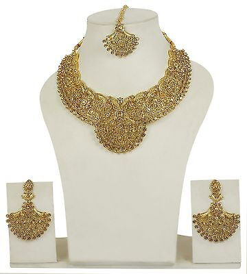 5050 Indian Bollywood Style Fashion Necklace Gold Plated Bridal Jewelry Set