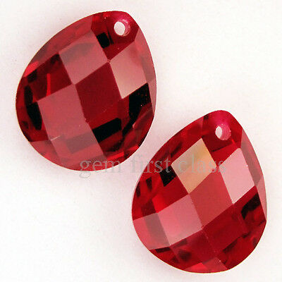 ❥ 12.70 Ct./2 Pcs. Twin Blood Red Ruby Pear Drilled Loose Gemstone 12x10x6 mm.
