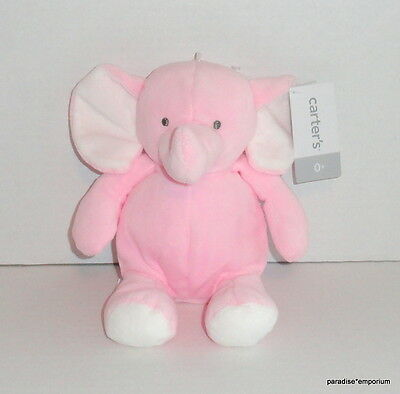 New Carters Baby Elephant Plush Toy Pink White Rattle #61036 NWT P74