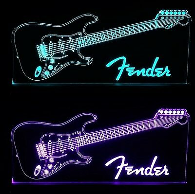 Fender Guitar LED Remote Control Edgelit Sign
