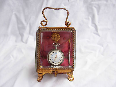 ANTIQUE FRENCH GILT BRASS BEVELED GLASS POCKET WATCH BOX,LATE 19th CENTURY