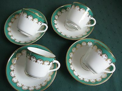 Emerald Green/Gild 4 Cups and Saucers.  Early 1900's. Good Used Condition