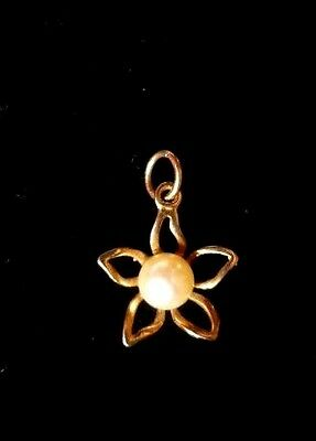 9ct Gold Pearl Flower Pendant Fully Hallmarked