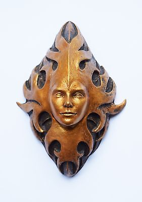 Green Man plaque, aged gold effect - Wall art - Sculpture