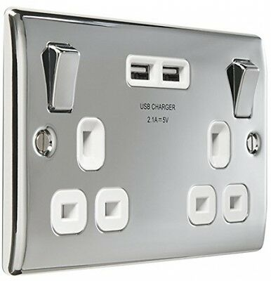 2 Gang Polished Chrome Switched Socket With 2 X USB Port Charger White Insert