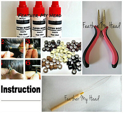 Feather Hair Extension Tool Kit: Threading Tool, Tri Clamp Pliers, 25 Bead Mix,
