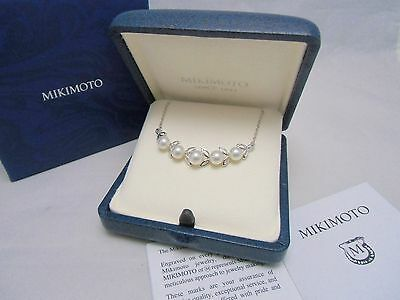 NEW! Mikimoto Akoya Pearl Silver Pendant Necklace Linearly  5 Pearls Authentic!