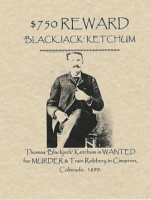 Black Jack Ketchum~(I Combine Shipping)~Wanted,poster,old West,outlaw,rob