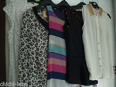 CLEARANCE SALE JOB LOT LADIES TOPS & BLOUSES SIZE 10 - 12 MOSTLY BNWT (ref A48)
