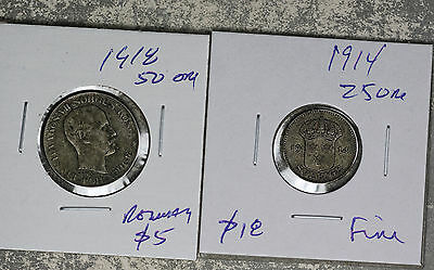 Original 1918 50 Ore and 1914 25 Ore Norway Silver Coins!