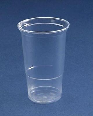 100  x  Disposable Plastic Pint Glasses Strong Flexi