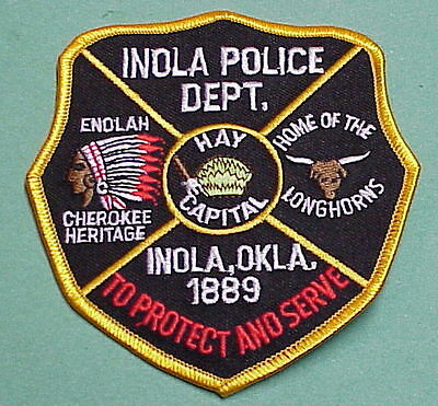 """Inola  Oklahoma  Ok  """" Home Of The Longhorns """"   Police Patch   Free Shipping!!!"""