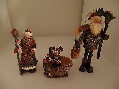3 Rustic Woodland Cabin Pine Cone Wood Look Christmas Ornaments Santa Sleigh