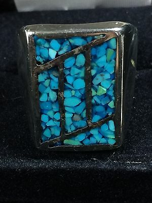 Zuni Turquoise Inlay Sterling Silver Navajo Ring Size 9.5 Vintage Estate