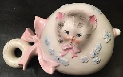 Vintage 'NAPCOWARE' Planter: Baby Rattle-shaped - White w/ Grey Cat & Flowers