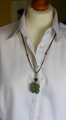 "Chinese Jadeite Pendant on leather cord and Jade ""look"" Bracelets"
