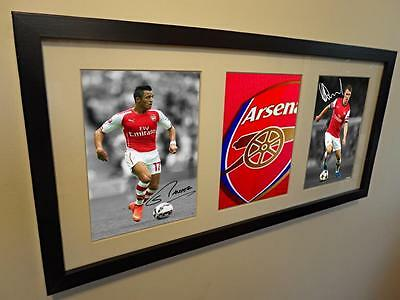Signed Autographed Arsenal Photo Picture Frame Alexis Sanchez Aaron Ramsey