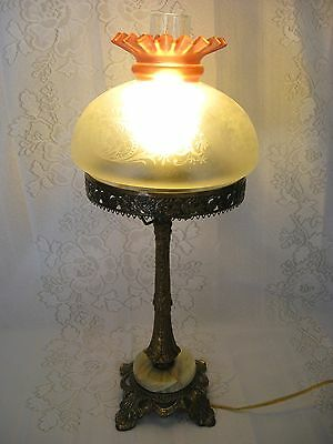 Vintage Antque Bronze & Marble Lamp with Pink and Frosted Engraved Glass Shade