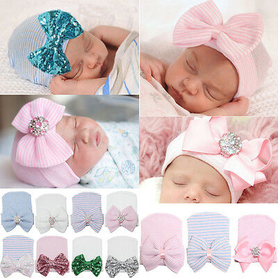 Cute 0~3 Months Baby Newborn Infant Girl Rhinestone Bowknot hairand head Cap Hat