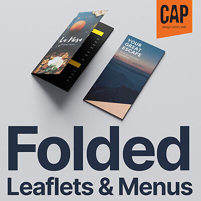 FOLDED LEAFLETS & MENUS • A3 to A4 • A4 TRIFOLD • A4 to A5 • A5 to A6, FROM £39