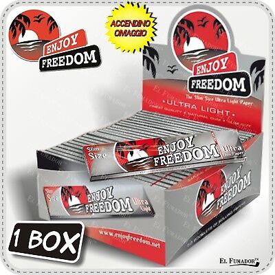 1600 CARTINE ENJOY FREEDOM ARGENTO SLIM LUNGHE BOX 50 LIBRETTI King Size Silver