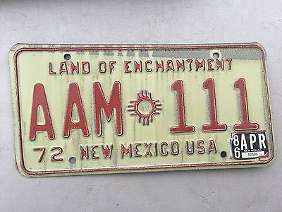 "1972 New Mexico Passenger License Plate "" Aam 111 "" Nm Cool Number"