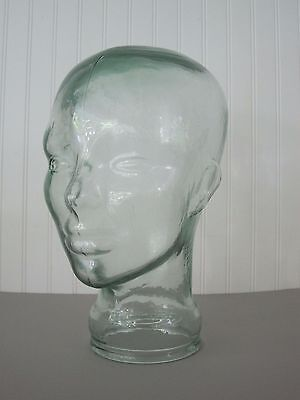 """Glass Mannequin Head Clear Green  Store Display  Man Or Woman 11"""""""