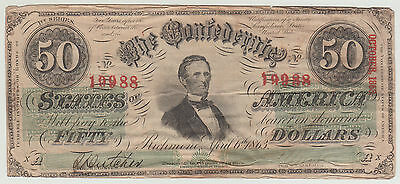 1863 Confederate States of America $50 Fifty Dollar Bill Civil War Currency Note