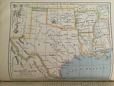 Antique 1883 World Atlas Eclectic Geography Maps Book - Indian Territory 1st Ed