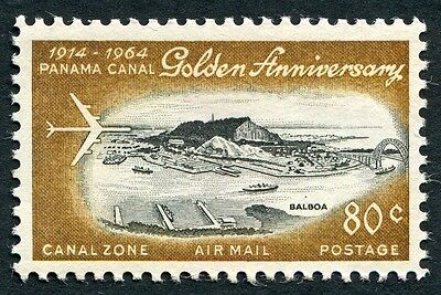 CANAL ZONE 1964 80c black and bistre SG231 MNH FG AIR Panama Canal Anniv #W5