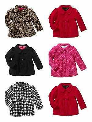 New Girls toddler Peacoat Padded Jacket button Fleece black red pink brown 3T-5T