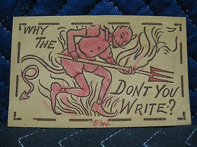 Antique Vintage Leather Why The Devil Humorous And Novelty Postcard 1907