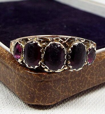 Antique 1805 Georgian 9ct Gold Ornate Black Purple Amethyst Paste Ring / Size O