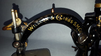 1880s Cast Iron Willcox Gibbs Sewing Machine Gold Gilt Decoration Scalloped Base