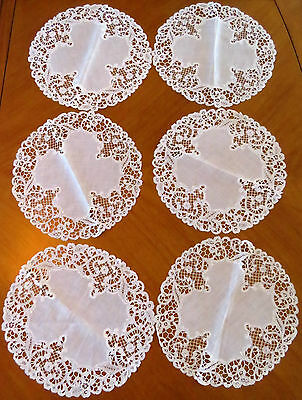 "6 Antique Placemats Linen Lace Edging 11"" Cream Luncheon Table Placemat Set"