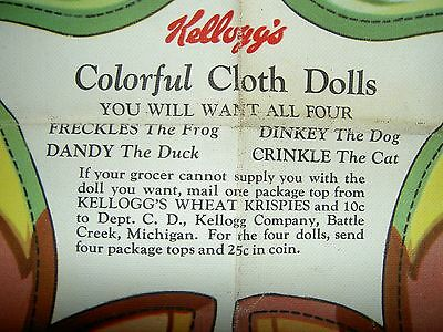 "Kelloggs ""DINKEY THE DOG"" cprt.1935 uncut advertising panel (pattern) cloth doll"