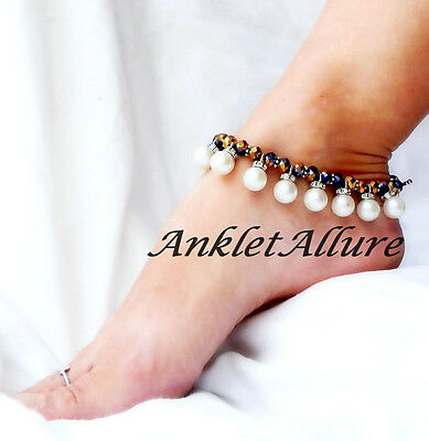 Belly Dance Anklet Pearl Dangles Ankle Bracelet Exotic Body Jewelry Foot Jewelry
