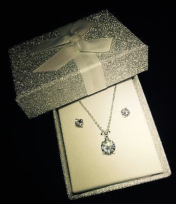 Christmas gift Silver Wedding Bridal Jewellery Crystal  Necklace and Earring set