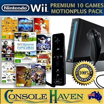 Nintendo Wii Premium Pack Console Bundle: Genuine Controls, 10 Games, Opt. HDMI