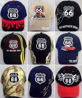 Route 66  Baseball Caps Hats Assorted Styles Embroidered  6 Pc Lot (7508-6 ^*)