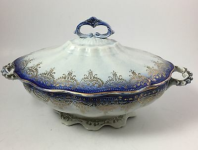 Antique Flow Blue Vegetable Serving Dish Colonial China Co