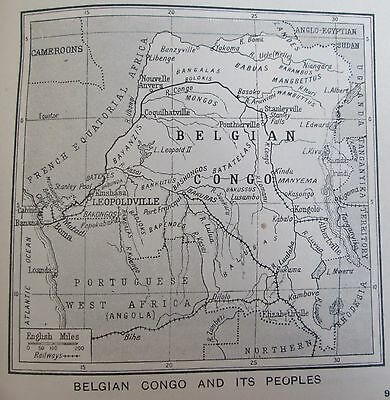vintage 1934 mini map of Belgian Congo and its peoples indigenous natives tribe