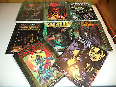 VAMPIRE THE MASQUERADE SOURCEBOOK LOT 7 RPG Books and Screen by White Wolf!!
