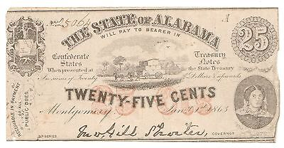 1863 25 Cents State of Alabama Circulated Fractional Obsolete Note [2972.16]