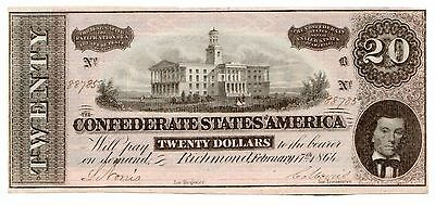 Type 67 1864 $20 CSA Confederate States of America Large Note [2972.09]