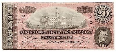 Type 67 1864 $20 CSA Confederate States of America Large Note [2972.02]