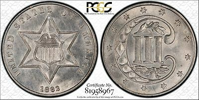 1862 Three Cent Silver Pcgs Ms 62
